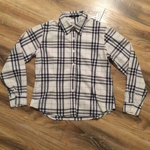 Burberry Blue and White Button Down